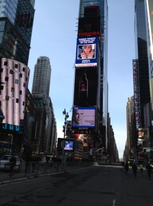 Hello Times Square, I am so happy to see you after all those hills in Central Park. (c) Stacey Cooper