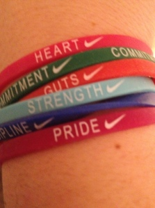 Heart, Commitment, Gut, Strength, Discipline, and Pride. I need one that says Joy. I'll be wearing these until the Brooklyn Half as a reminder of what it will take to run well. (c) Stacey Cooper
