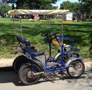 I rode this quadricycle after the race with my friend Lori. We're calling this my first brick.