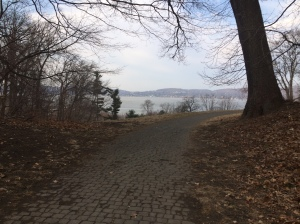 Approaching the highest point of the race, on a nice trail, with amazing views of the Hudson River. (c) Stacey Cooper