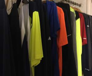 Look! You can see a lot of running clothes that were worn while actually running and are now drying and waiting to be worn again! (c) Stacey Cooper
